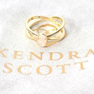 Kendra Scott Emilie Gold Ring Iridescent Drusy NEW